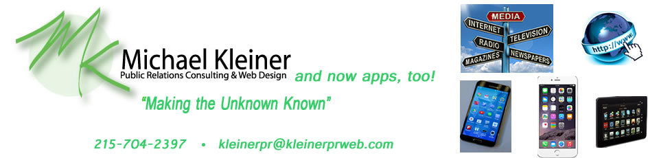 Logo, tagline, images Michael Kleiner Public Relations and Web Design and apps now